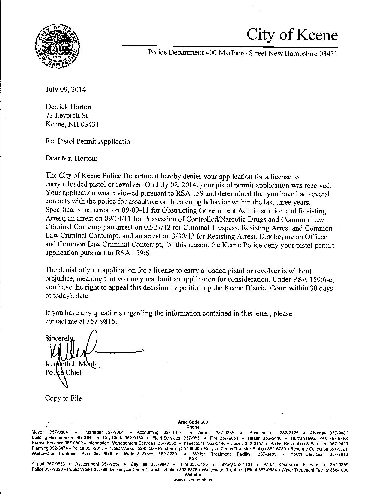 Sample Letter To Chief Of Police For Gun License